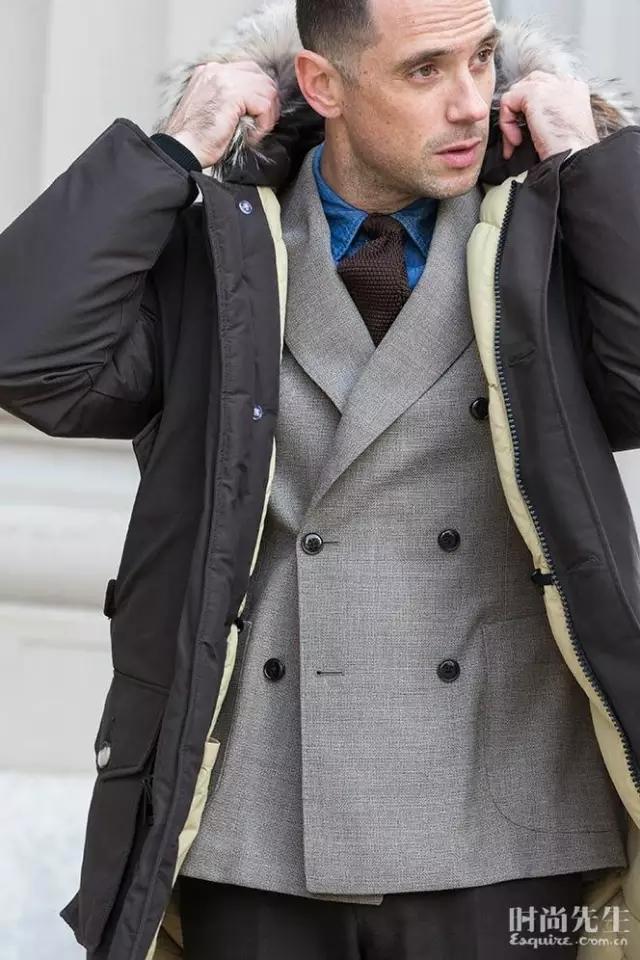 西装搭配派克大衣