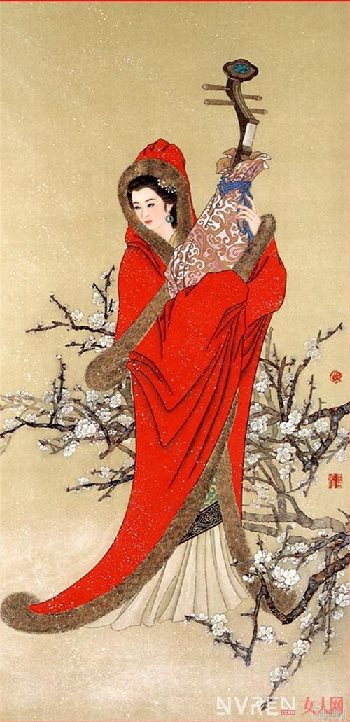 古代人弹琵琶绘画