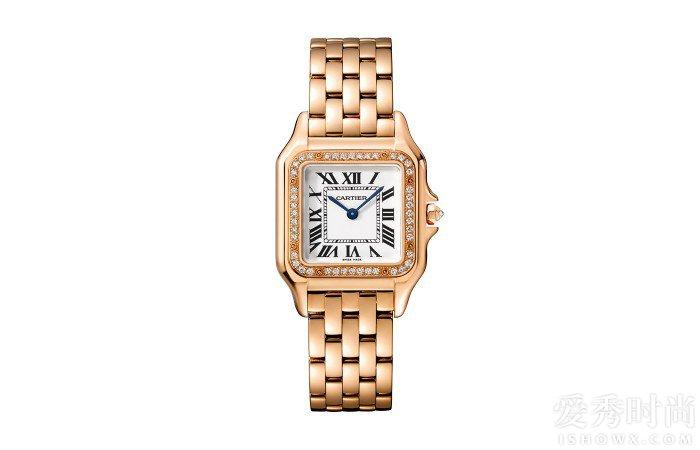 Panthère de Cartier卡地亚猎豹腕表,小号表款,18K玫瑰金,表圈镶嵌钻石