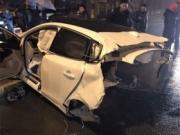 沃尔沃与奥迪相撞被肢解 车主大难不死仅轻度擦伤